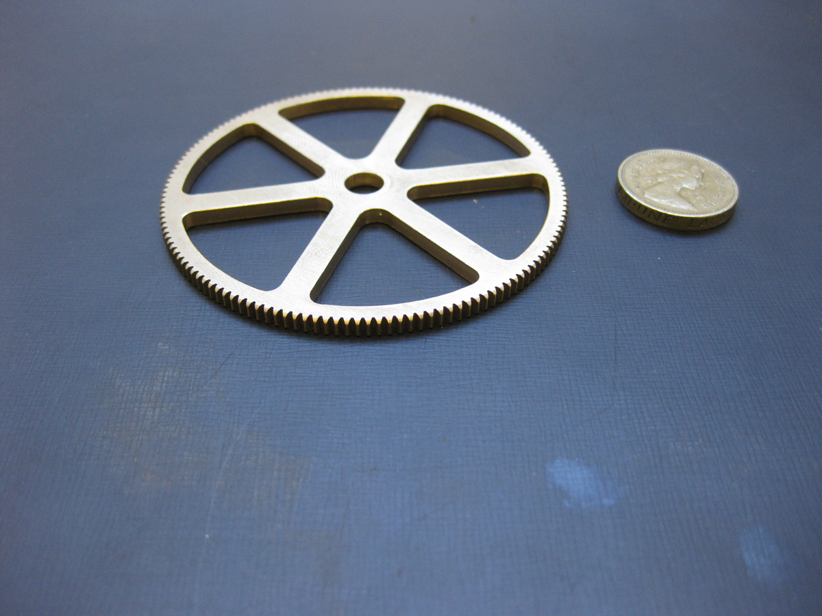 Gear size comparison to British one pound coin